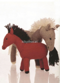 PDF Digital Download Vintage Knitting Pattern Stuffed Plush Soft Toys Horse 30 cm ​​​​​​​Pony 21 cm